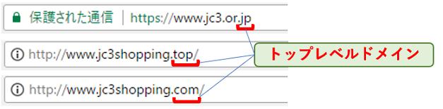 ブラウザー上部のアドレスバーからトップレベルドメインを確認できる