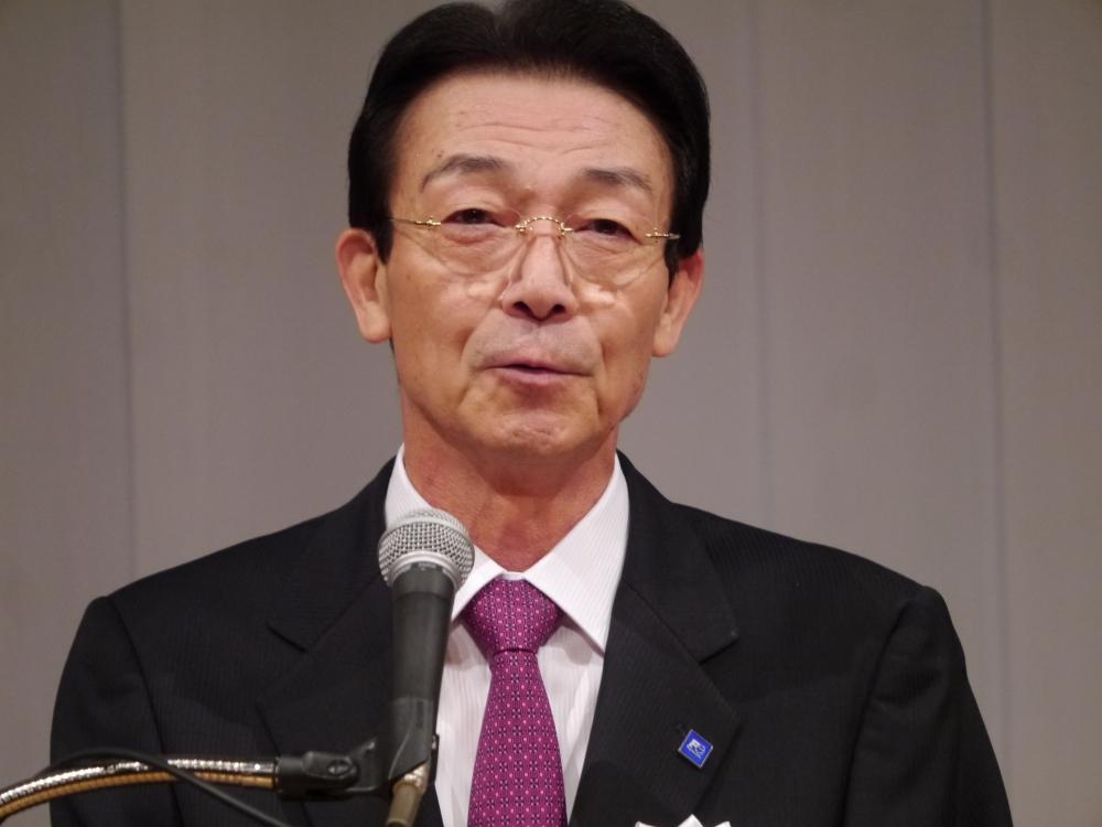 乾杯の音頭を取ったJEMAの北澤通宏会長(富士電機株式会社代表取締役社長)