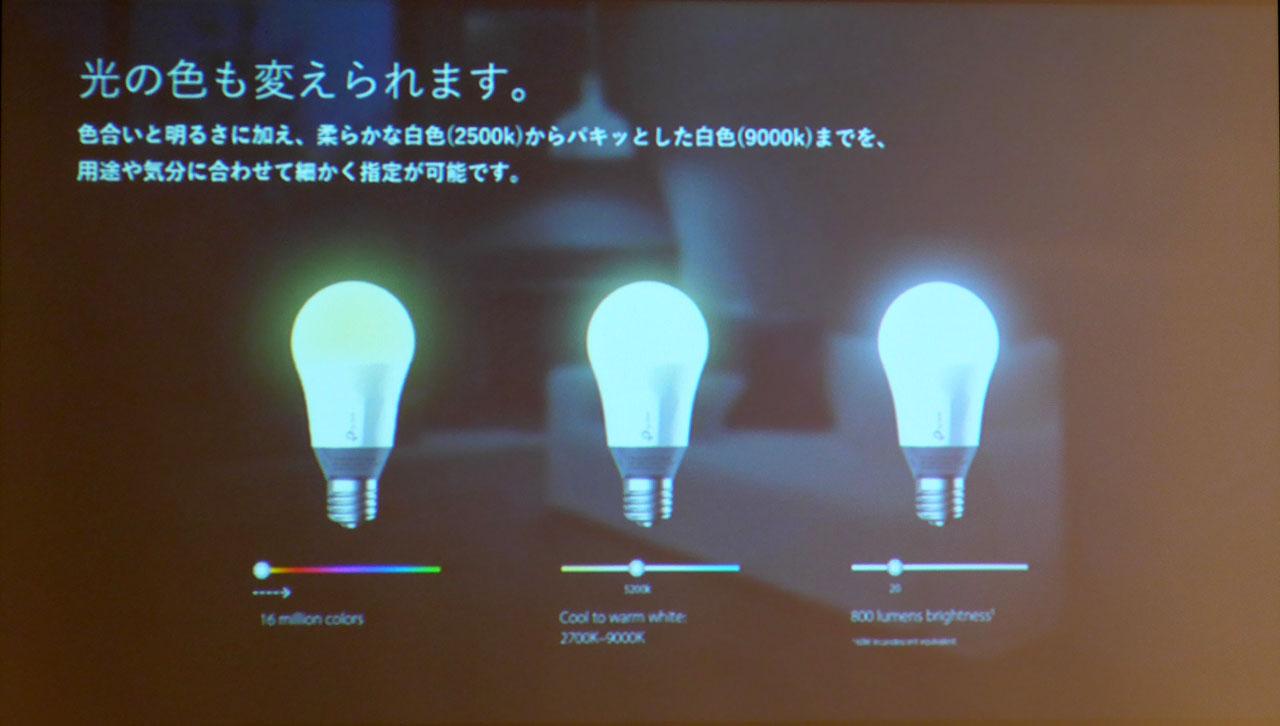 LB130では明るさに加え、光の色合いを1600万色の中から変更できる