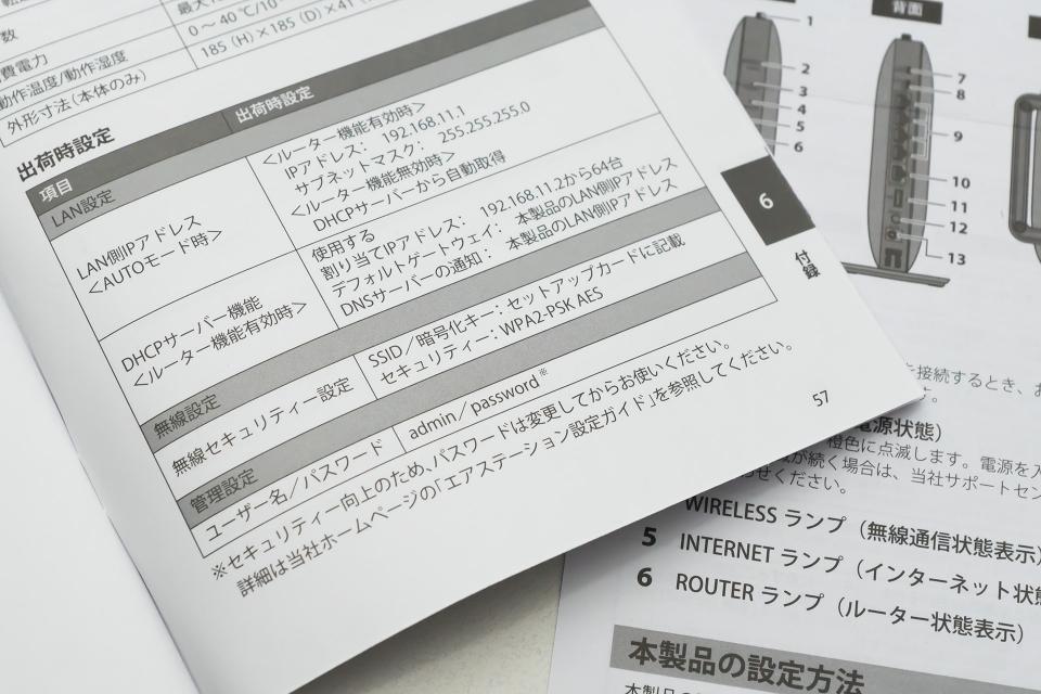 バッファロー製のWi-Fiルーターでは、「管理設定画面にアクセスするためのIPアドレスとパスワード」がマニュアルの最後にまとめられていた