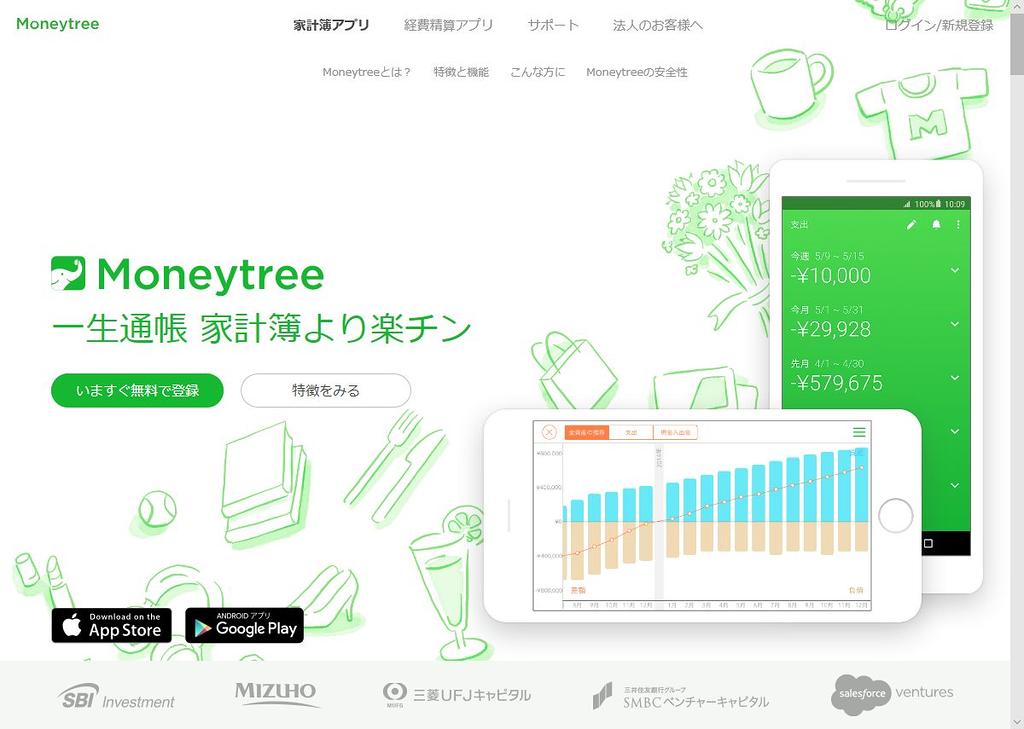 「Moneytree」のウェブサイト。2600以上の金融機関やサービスをサポートしている。無料でできるのがうれしいところ