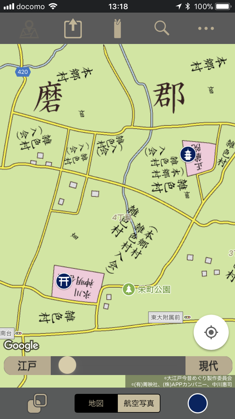 農村部の地図。寺社名まで細かく記載されている。