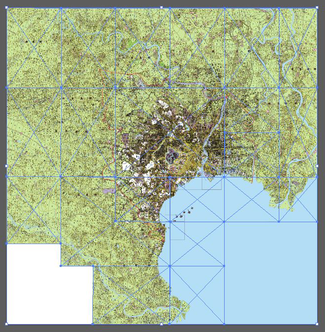 Illustrator上で1枚の大きな地図を作成