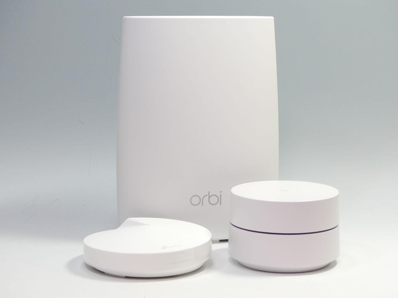 「Google Wifi」(右)、NETGEAR「Orbi」(中央)、TP-Link「Deco M5」(左)