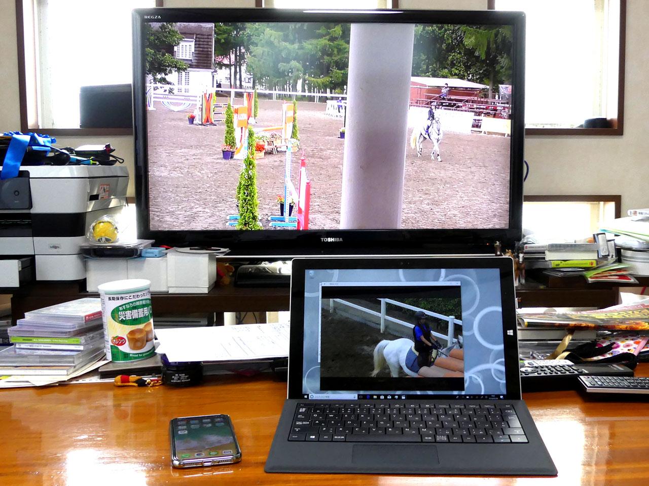 2台のPC、Amazon Fire TV、iPhoneでNASに保存したMP4動画やAbema TVの動画を同時再生