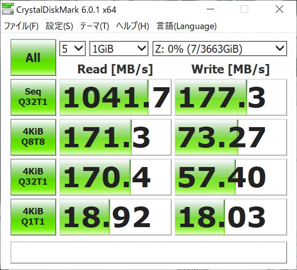RAID 1構成時、10Gbps、Jumbo Frame 9000