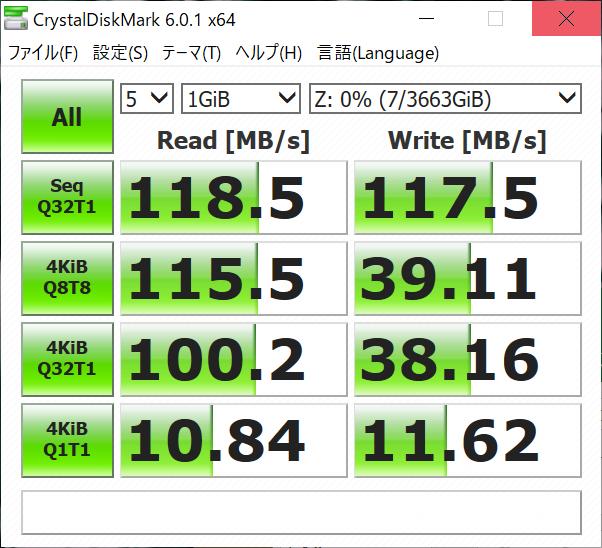 RAID 1構成時、1Gbps、Jumbo Frameなし