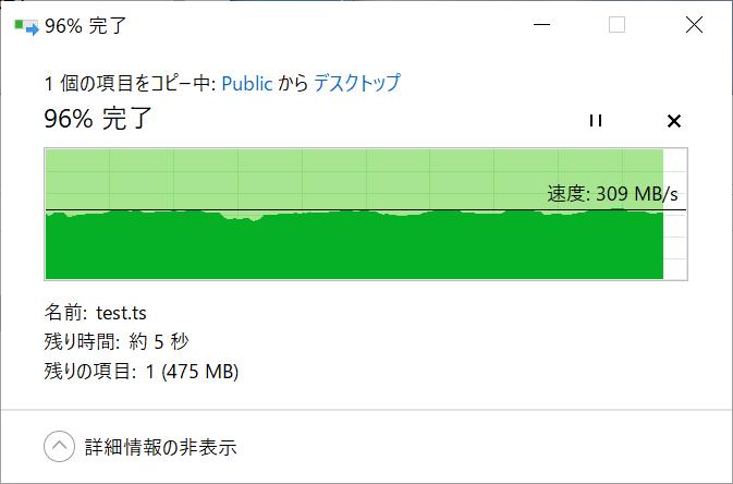 RAID 0構成時の読み込み(NAS→PC)速度(10Gbps、Jumbo Frame 9000)。