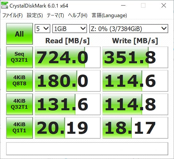(参考)RAID 0構成時のCrystarlDiskMark 6.0.1(10Gbps、Jumbo Frame 9000)