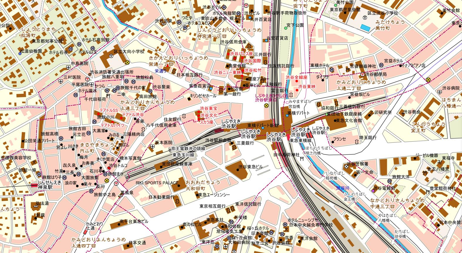 「タイムワープMAP 東京」(渋谷駅周辺)