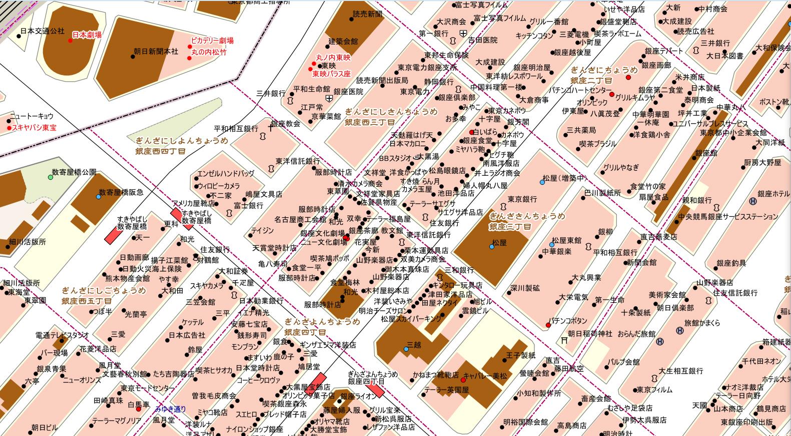 「タイムワープMAP 東京」(銀座駅周辺)