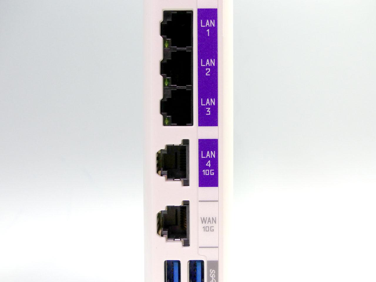LANポートは3つが1Gbps、10Gbps対応の10GBASE-Tは1ポートのみ