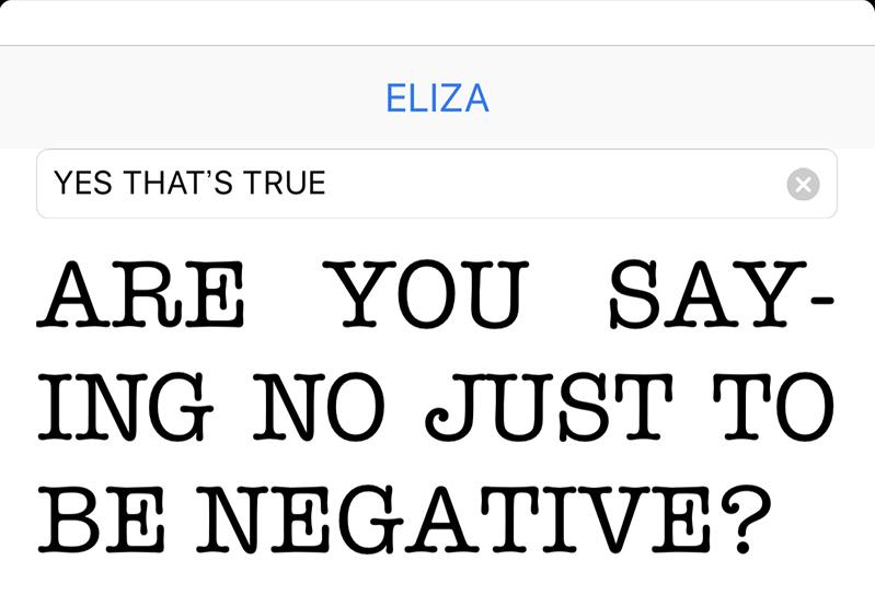 """<strong class=""""em """">[図2]</strong>ELIZAはiPhoneアプリにも移植されており、対話することができる"""