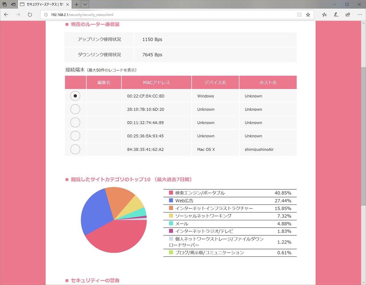 端末の通信状況もチェック可能。どのウェブサイトにアクセスしているかといった分析もできる