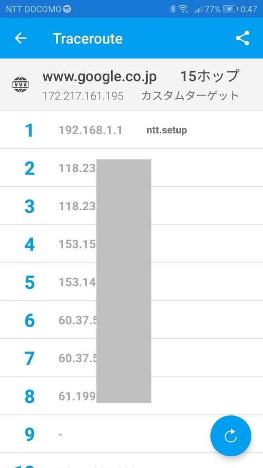 Fingを使った経路検索結果。自宅内のルーターが1つの場合