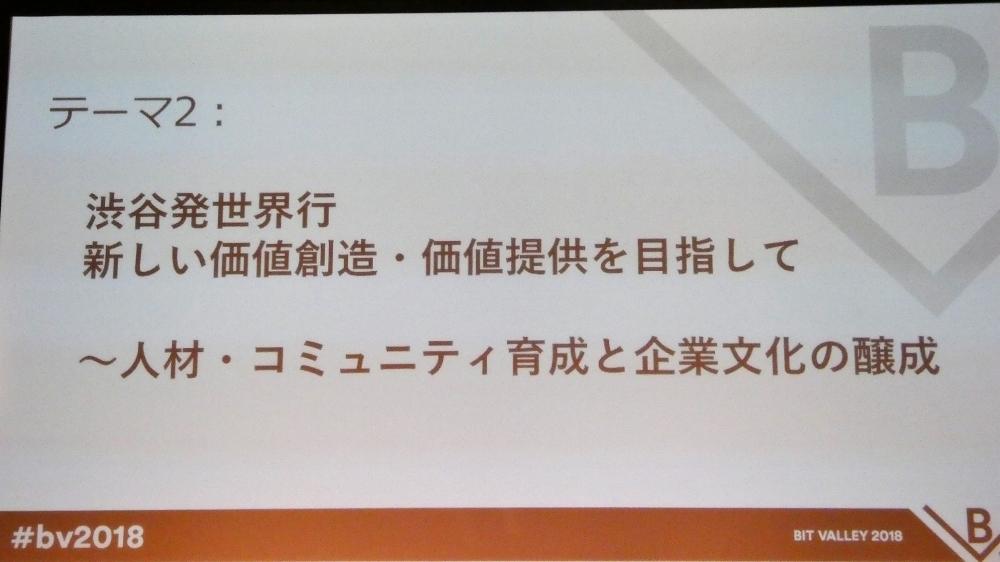2つめのテーマは「渋谷発世界行 新しい価値創造・価値提供を目指して ~人材・コミュニティ育成と企業文化の醸成」
