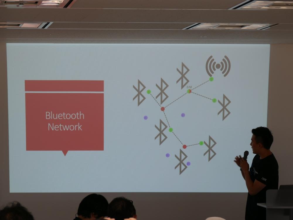 Bluetoothで端末を経由しながら情報を送信