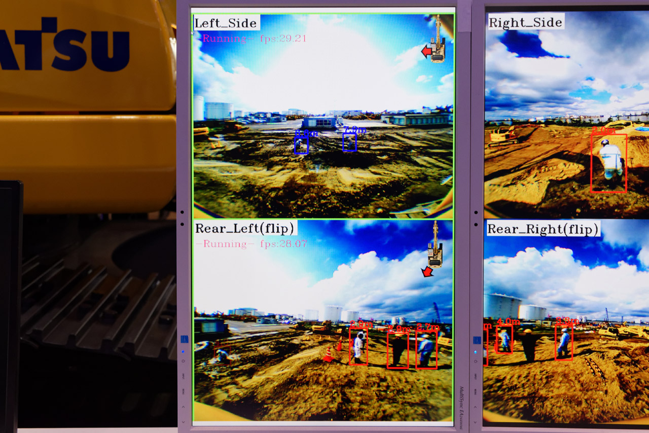 2つの車載カメラの映像を解析し、人を検知