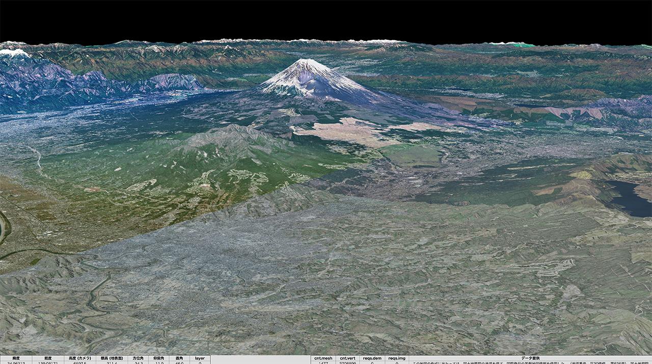 富士山周辺の3D映像