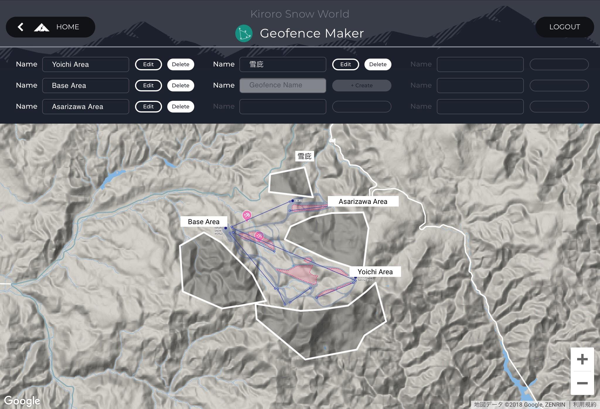 「Geofence Maker」の管理画面。白線で囲まれた部分がジオフェンスのエリア