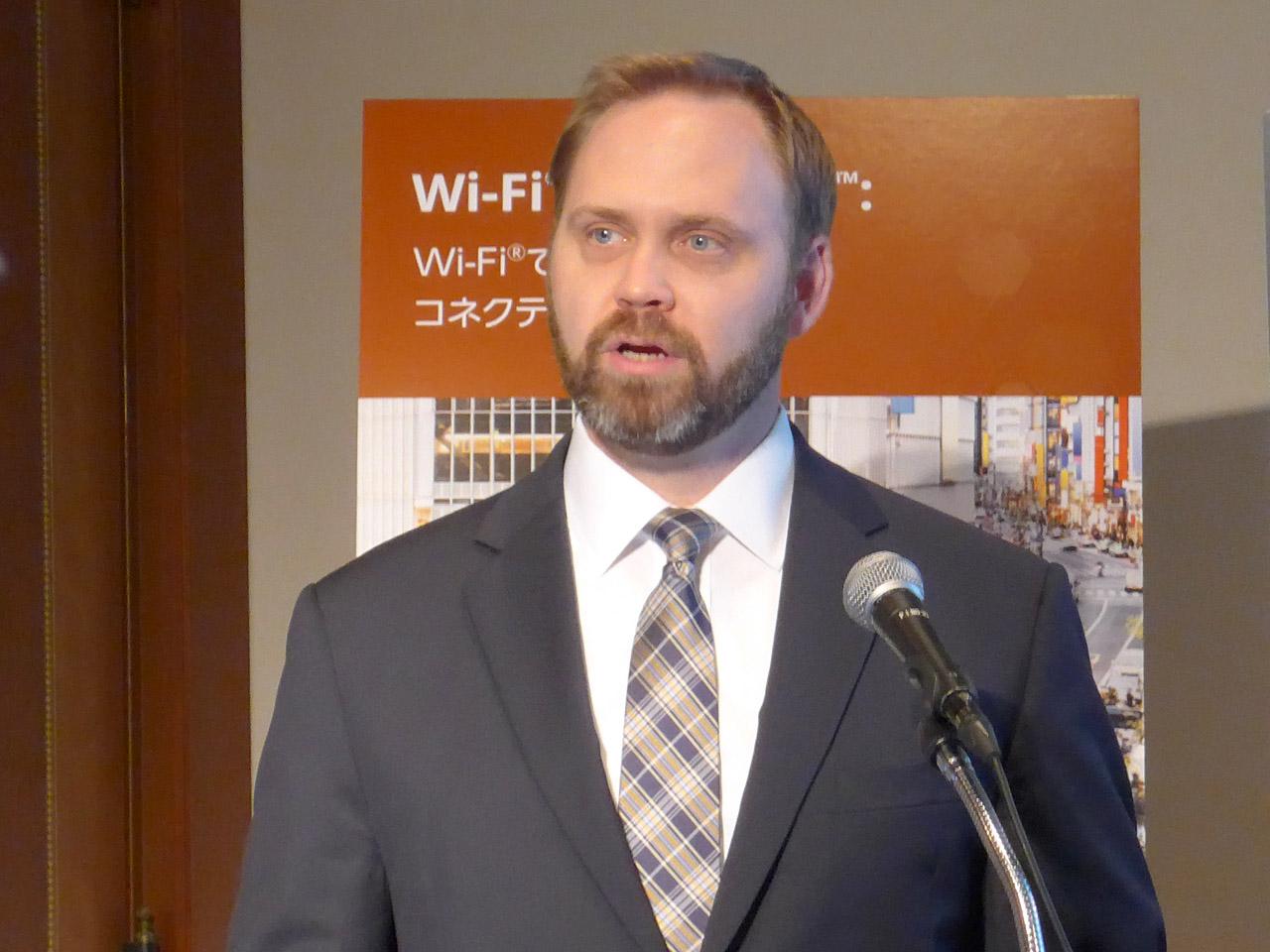 Wi-Fi Allianceマーケティング担当バイス・プレジデントのケビン・ロビンソン氏(2017年7月国内説明会での登壇時)