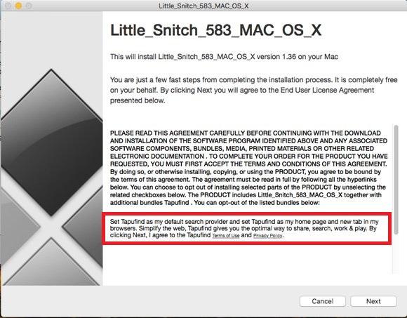 アドウェアのインストール時には別のアプリの設定に関する文言も表示されていた