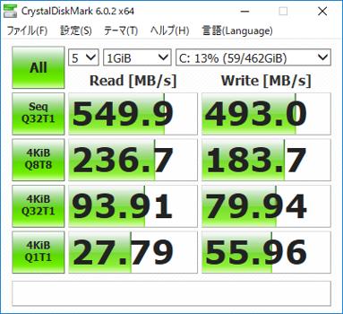 交換前のHDD(左)と交換後のSSD(右)のCrystalDiskMarkの計測結果。すべての項目でSSDが高速だが、特に日常作業の体感に直結するランダムリード/ライト(テストの2~4行目の値)の差は圧倒的だ