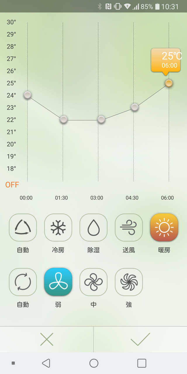 夜間、寝ている間にエアコンを自動でリモコン操作して快適に保つ仕組みもある