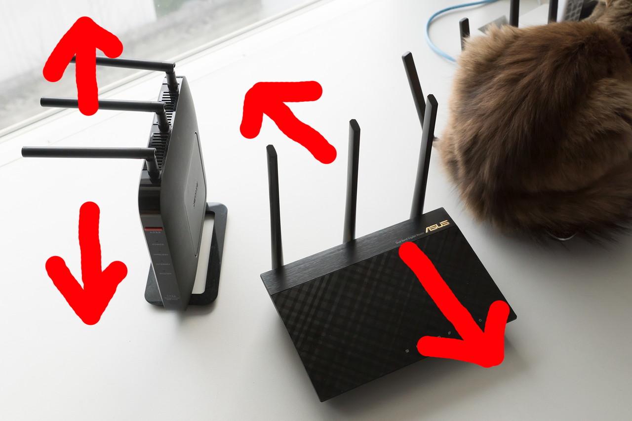 アンテナの傾きによって電波が強く送受信される向きが変わる。左の状態だと垂直方向に、右の状態にすると水平方向に強くなる