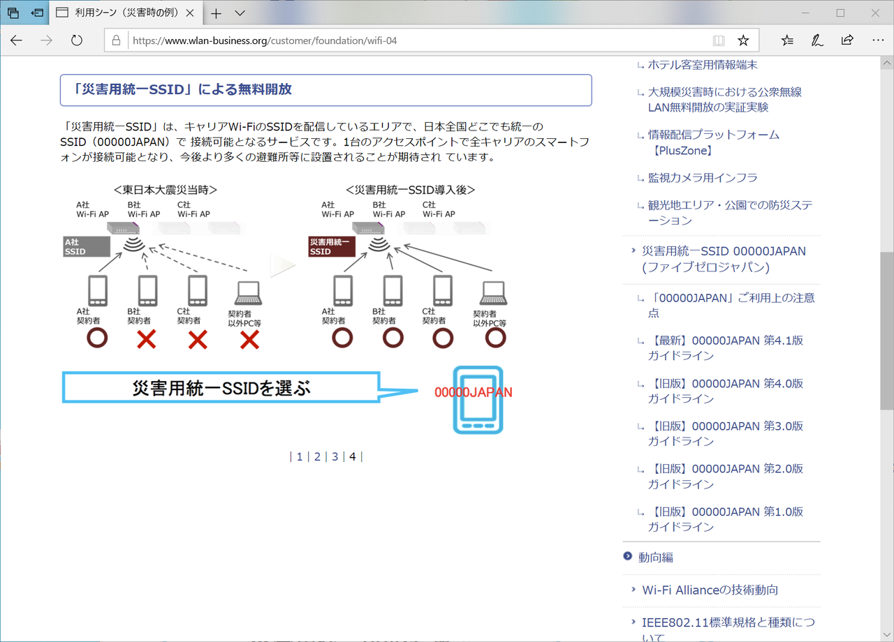 "<a href=""https://www.wlan-business.org/customer/foundation/wifi-04"" class=""n"" target=""_blank"">無線LANビジネス推進連絡会 利用シーン(災害時の例)</a>"