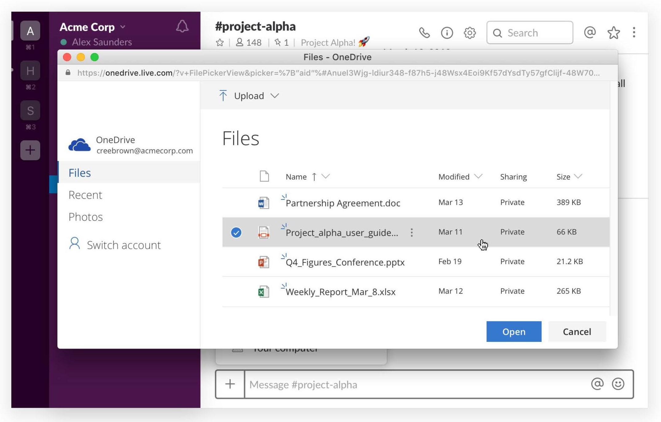 「OneDrive」からファイルをアップロードし、Slack内でプレビューを閲覧できるようになった