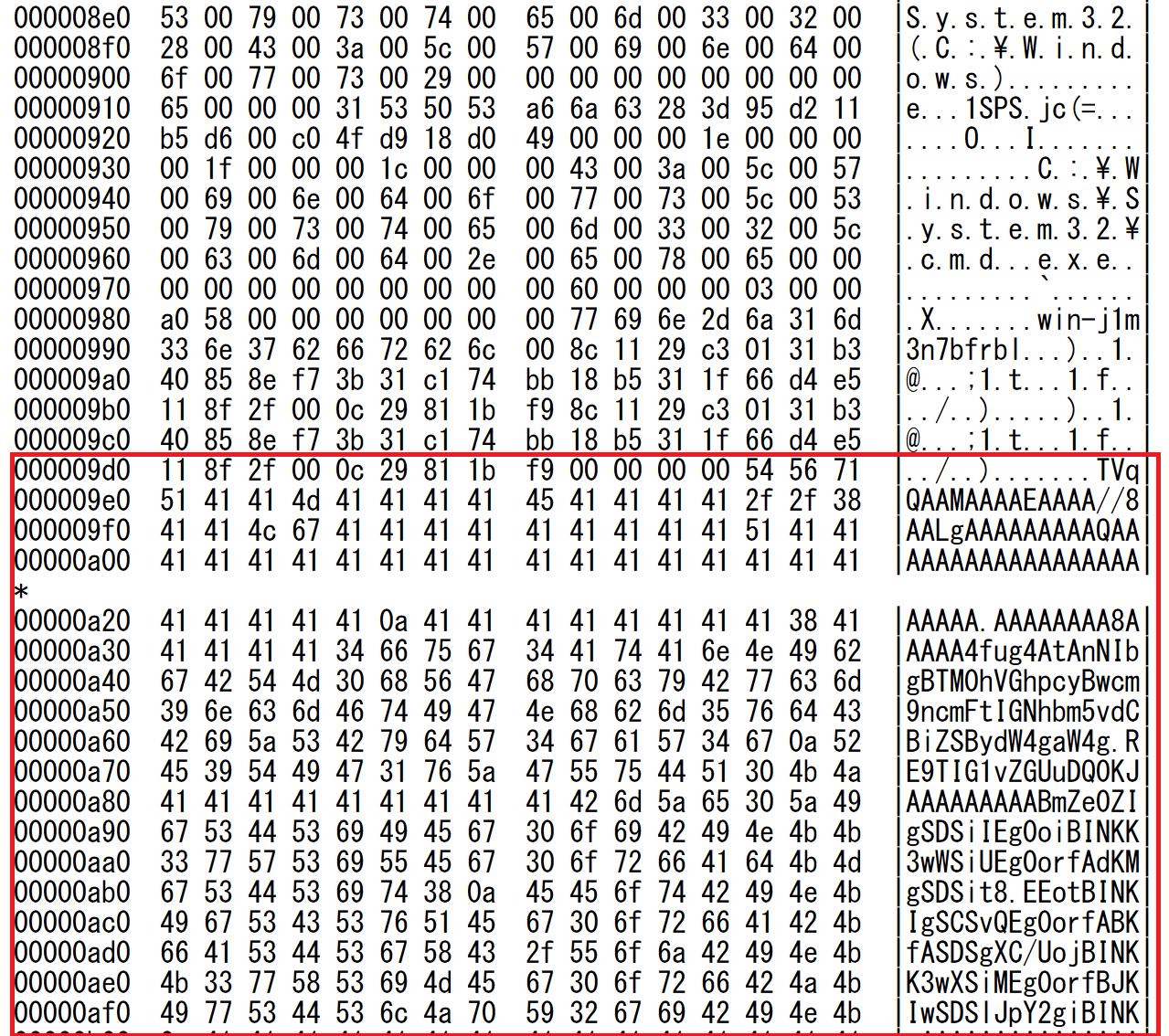 ショートカットファイルに含まれるBase64データ