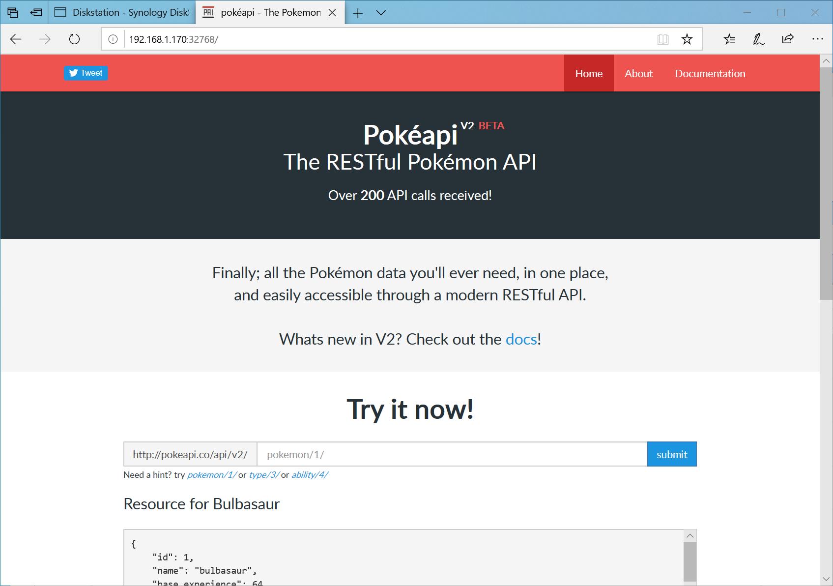 PokéAPIのサービスがNAS上で稼働する