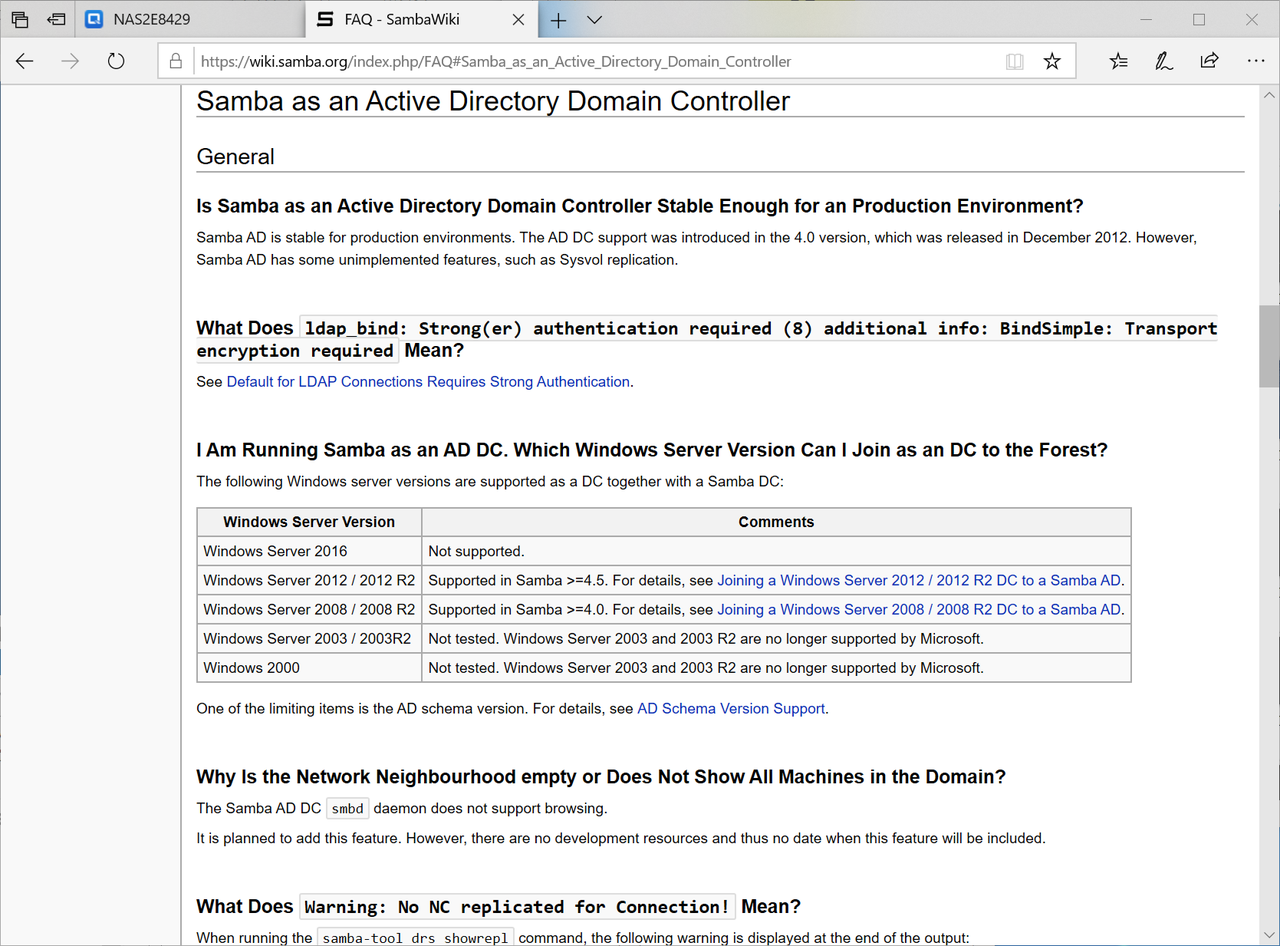 SambaのActive Directory機能についてはこちらを参照