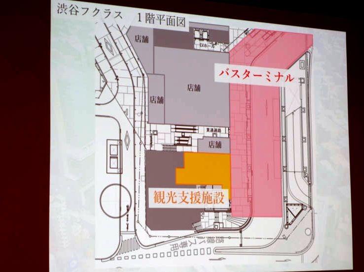 渋谷フクラスの地上階の平面図。観光支援施設とバスターミナルが作られる