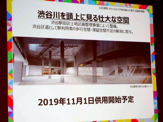 東口地下広場のイメージ。渋谷川の暗渠があるので、天井が途中で低くなっている