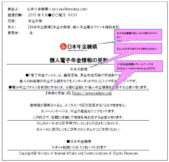 """日本年金機構のホームページで公開されているメールのサンプル画像(日本年金機構の8月21日付<a href=""""https://www.nenkin.go.jp/oshirase/taisetu/2019/201908/2019081902.html"""" class=""""strong bn"""" target=""""_blank"""">注意喚起</a>より)"""