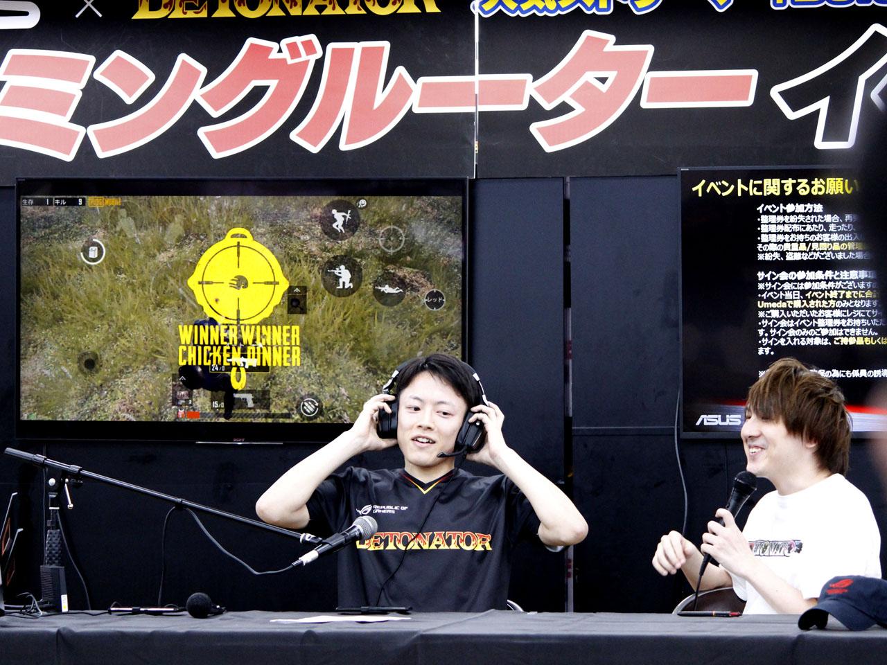 """YamatoN氏が実況する中、ソロプレイで""""ドン勝""""を達成した瞬間のimoNari氏"""