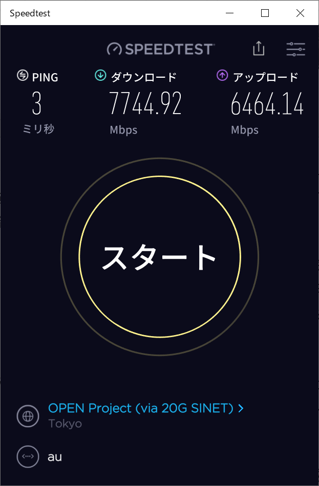auひかりで接続した際のspeedtest.netの結果