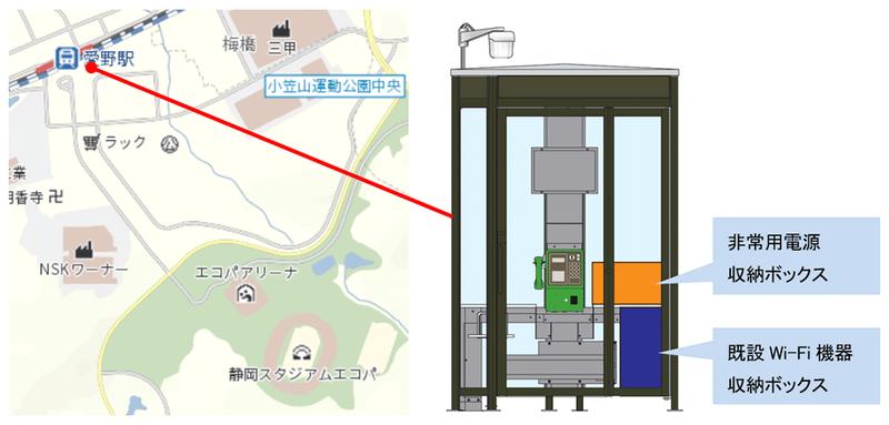 実証実験の実施場所と、非常電源を設置した公衆電話ボックスの概要