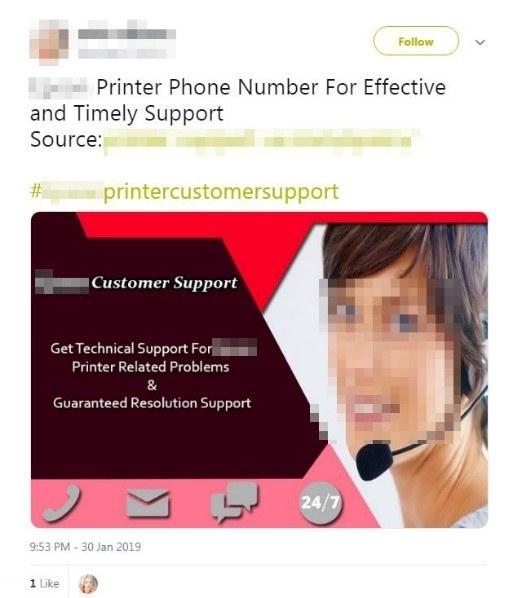 Twitterで確認したサポート詐欺の投稿