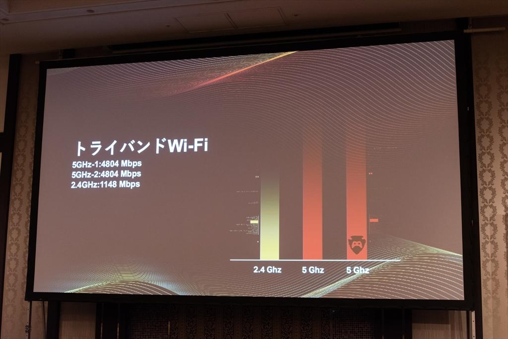 4×4のトライバンドルーターで、5GHz帯では最大4804Mbps(理論値)の超高速通信が可能