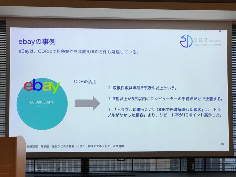ODR活用の一例。eBayでは年間6000万件の紛争をODRで解決しているという
