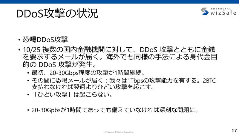恐喝DDoS攻撃