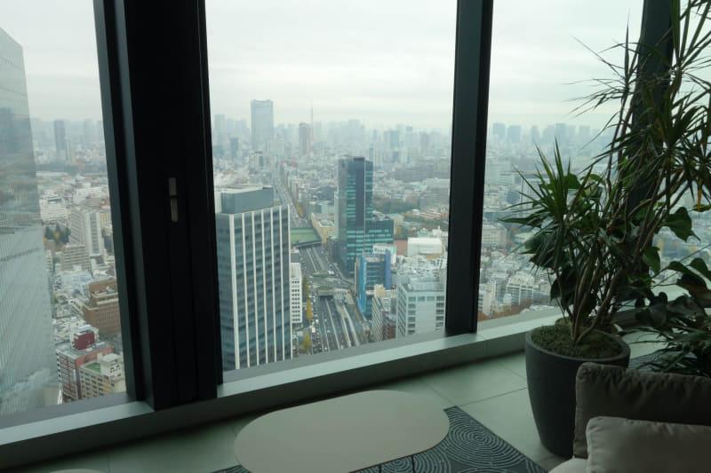 北東の六本木通り方向。中央の色の濃いビルが、これまでミクシィ社員の6~7割が入っていた渋谷ファーストタワー