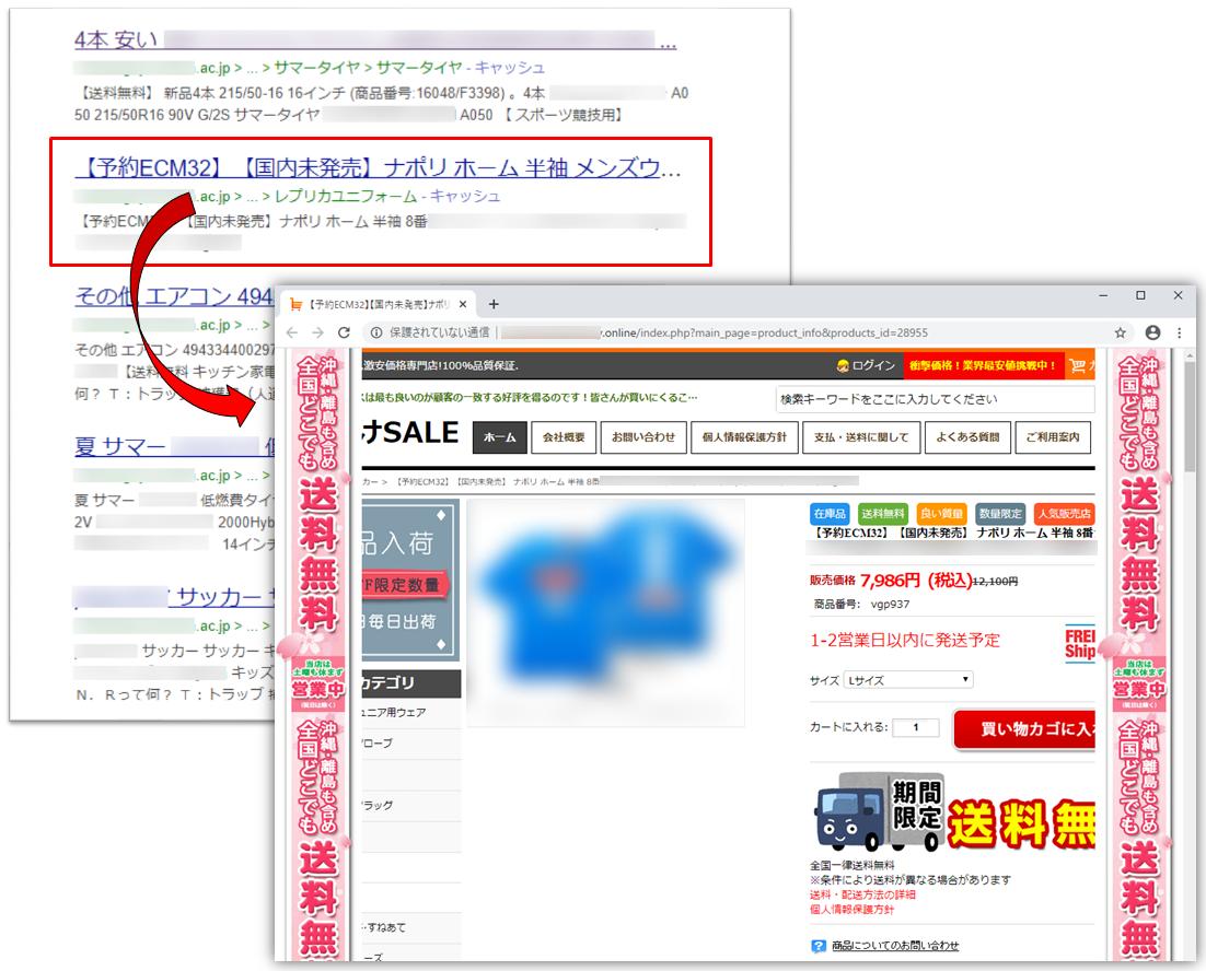 検索エンジン経由でアクセスするとショッピングサイトのようなページが表示