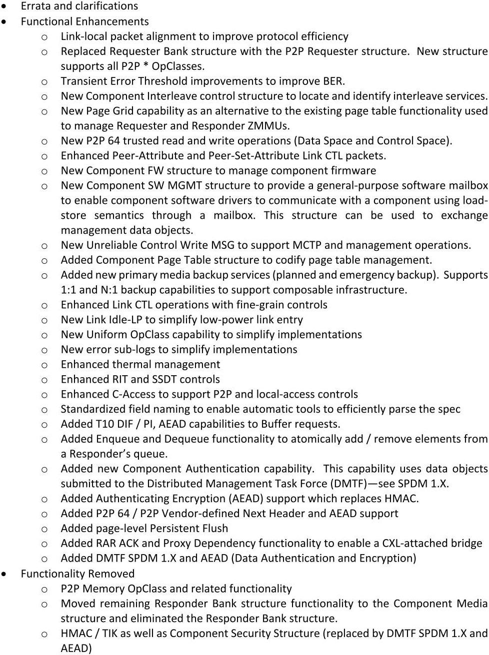 細かいImprovementは数多くあるが、大きなアーキテクチャの変革に繋がるようなものは特に見当たらない。出典はGen-Z Core Specification Version 1.1
