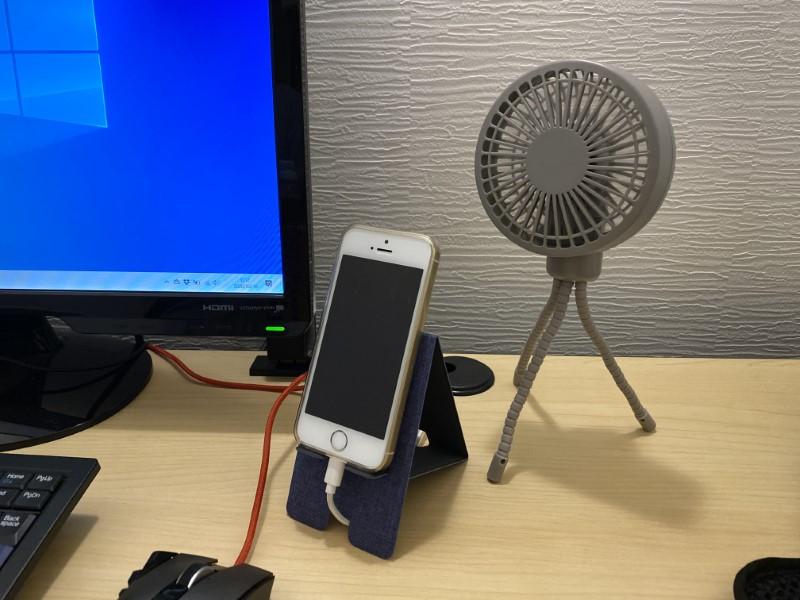 沖縄の気温上、USB扇風機もあったほうがよいアイテムの1つだ