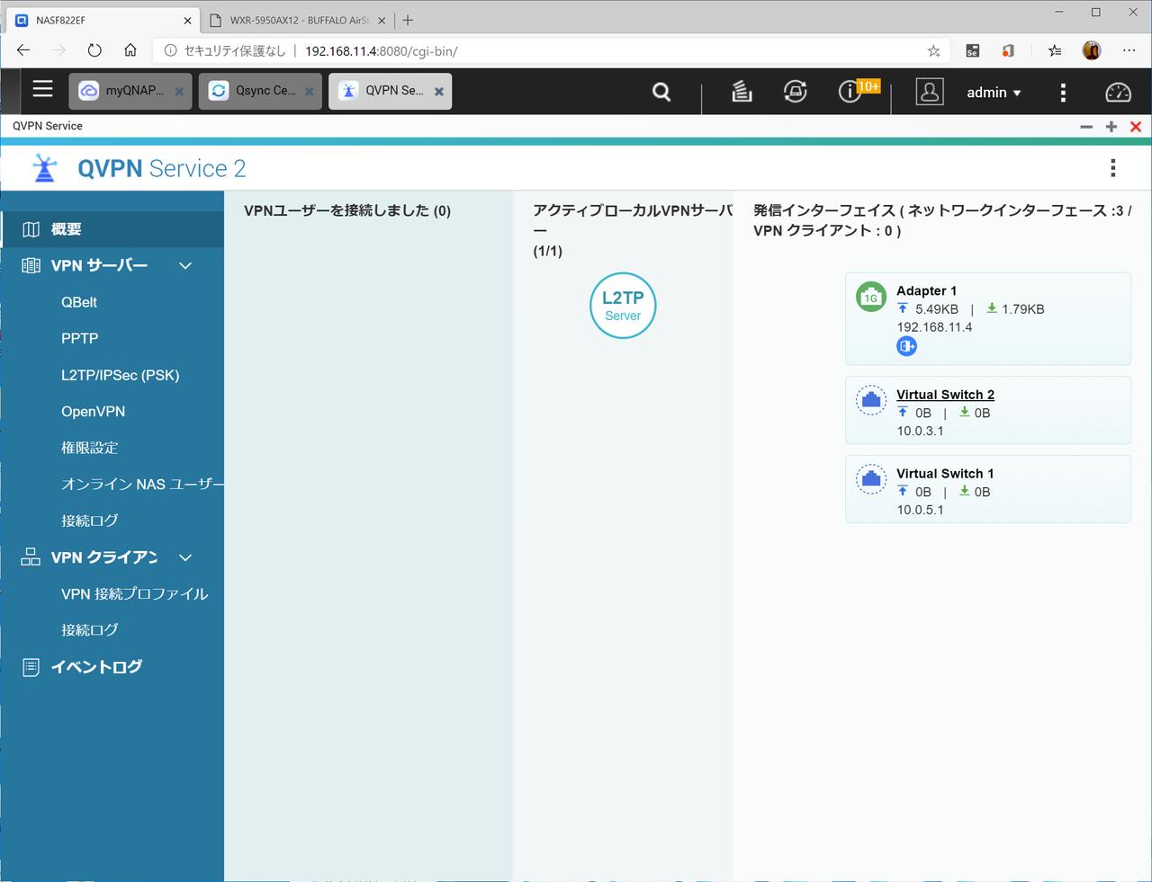 QNAPのNASに搭載されているVPNサーバー機能。複数のプロトコルに対応している