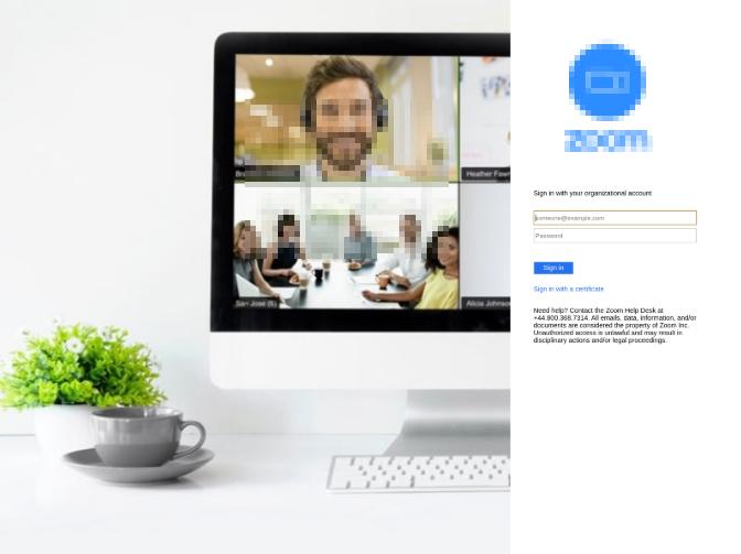 オンライン会議システム「Zoom」の認証情報を狙うフィッシングサイトの画面例